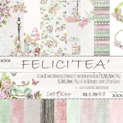 Mały bloczek papierów do tworzenia kartek i scrapbookingu - Craft O Clock - Felici'Tea'