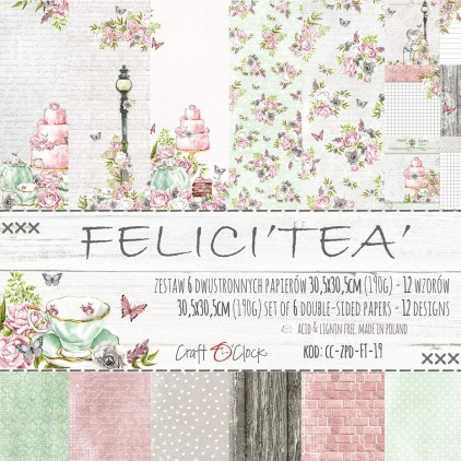 Set of scrapbooking papers - Craft O Clock - Felici'Tea'