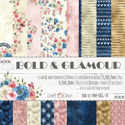 Pad of scrapbooking papers - Craft O Clock - Bold&Glamour