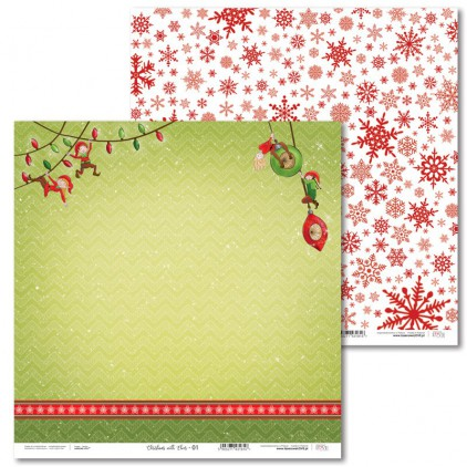 Papier do scrapbookingu - Christmas with elves - 01 - Laserowe LOVE