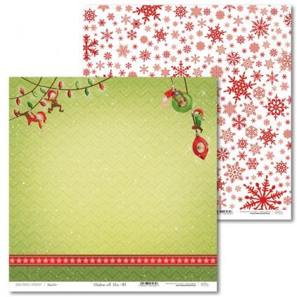 Scrapbooking paper - Christmas with elves - 01 - Laserowe LOVE