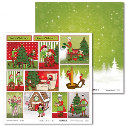 Scrapbooking paper - Christmas with elves - 06 - Laserowe LOVE