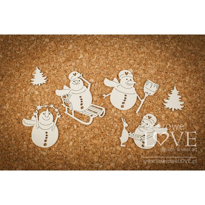 Tekturka - Cztery bałwanki - Vintage Christmas - LA18709 - Laserowe LOVE