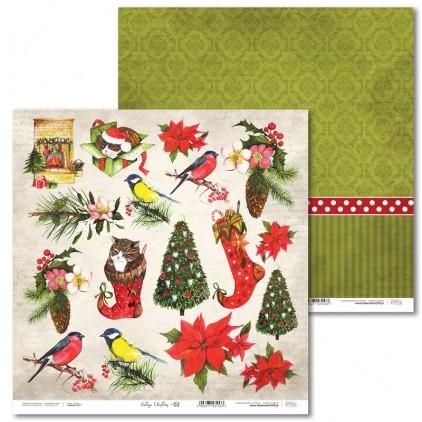 Scrapbooking paper -Vintage Christmas - 02 - Laserowe LOVE