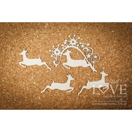 Cardboard -Fawn among the stars- Vintage Christmas - LA18720- Laserowe LOVE