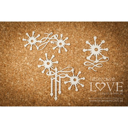 Cardboard -Ornaments with stars- Vintage Christmas - LA18721- Laserowe LOVE