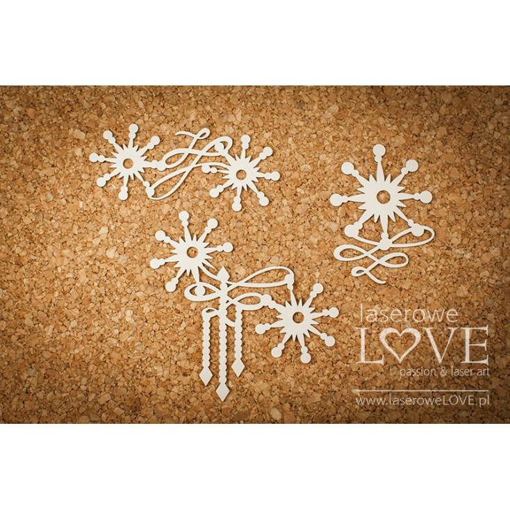 Cardboard -Ornaments with stars- Vintage Christmas - LA18721- Laserowe LOVE