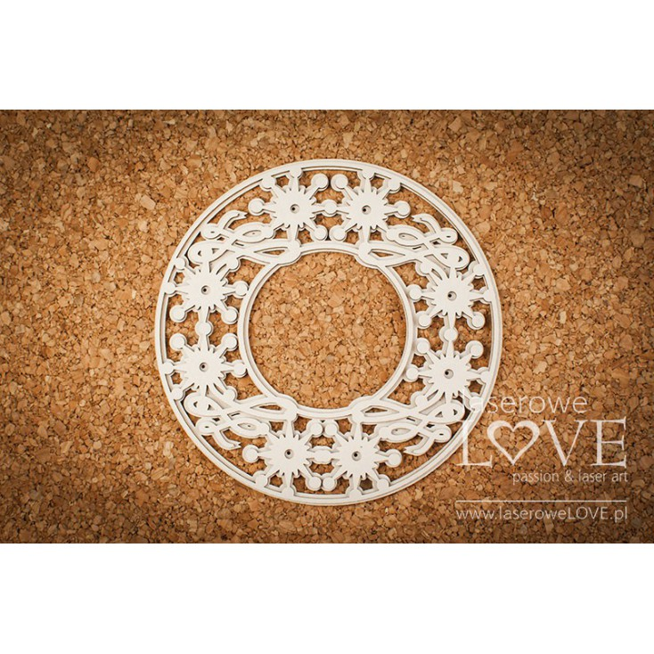 Cardboard -A large layered frame among stars- Vintage Christmas - LA18725- Laserowe LOVE