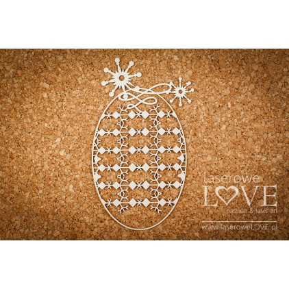 Cardboard -Oval frame with a background among stars - Vintage Christmas - LA18727- Laserowe LOVE