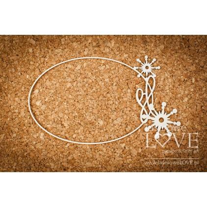 Cardboard -Oval frame among stars- Vintage Christmas - LA18728- Laserowe LOVE