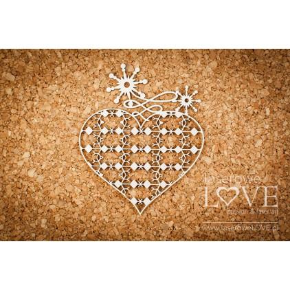 Tekturka - Serce z ornamentami - Vintage Christmas - LA18731- Laserowe LOVE
