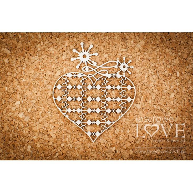 Cardboard -Heart with ornaments- Vintage Christmas - LA18731- Laserowe LOVE