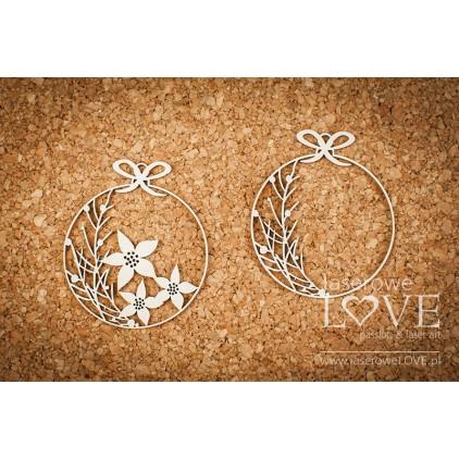 Cardboard -Christmas balls mini flowers- Vintage Christmas - LA18739 - Laserowe LOVE