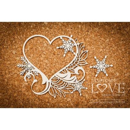 Tekturka -Ramka serce - Shabby Winter - LA18670- Laserowe LOVE
