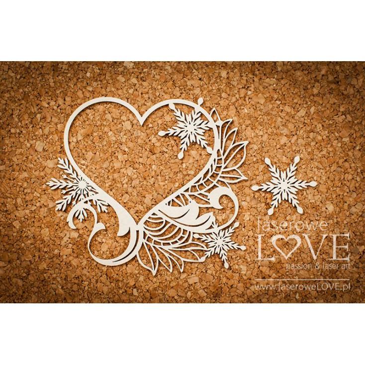 Cardboard -Heart frame- Shabby Winter - LA18670- Laserowe LOVE