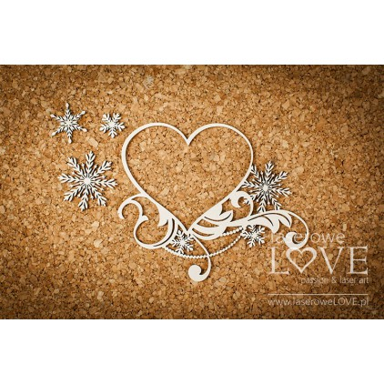 Cardboard -Heart frame in asterisks - Shabby Winter - LA18671- Laserowe LOVE