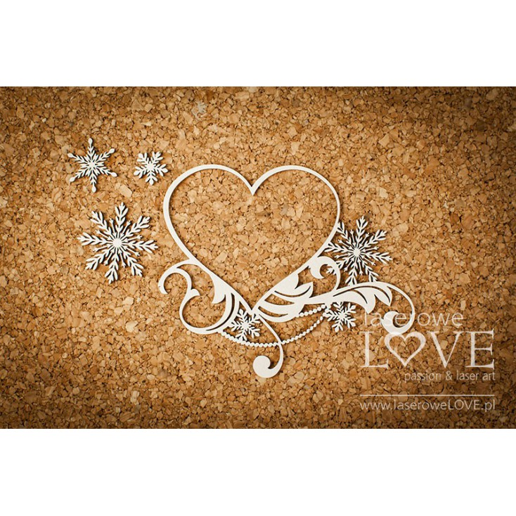 Cardboard -Heart frame in asterisks - Shabby Winter - LA18671- Laserowe LOVE