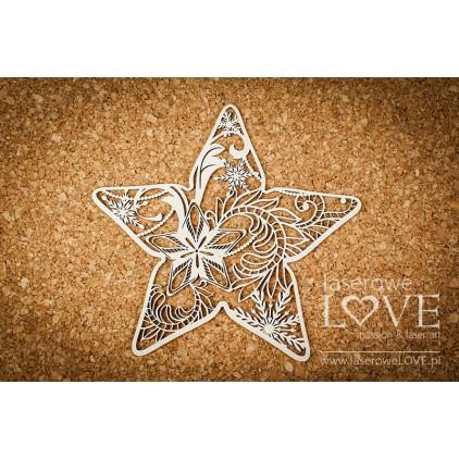 Tekturka - Gwiazdka- Shabby Winter - LA18669- Laserowe LOVE