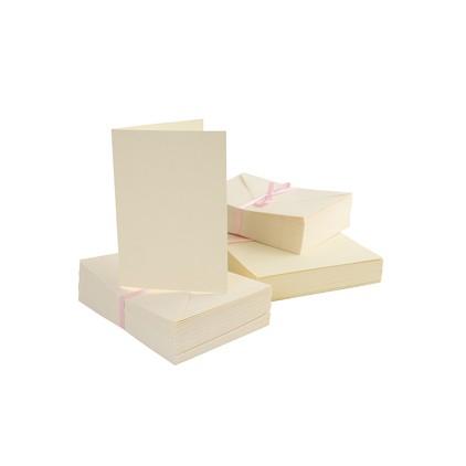 Bazy kartkowe plus koperty A6 - zestaw 50 sztuk - kremowe