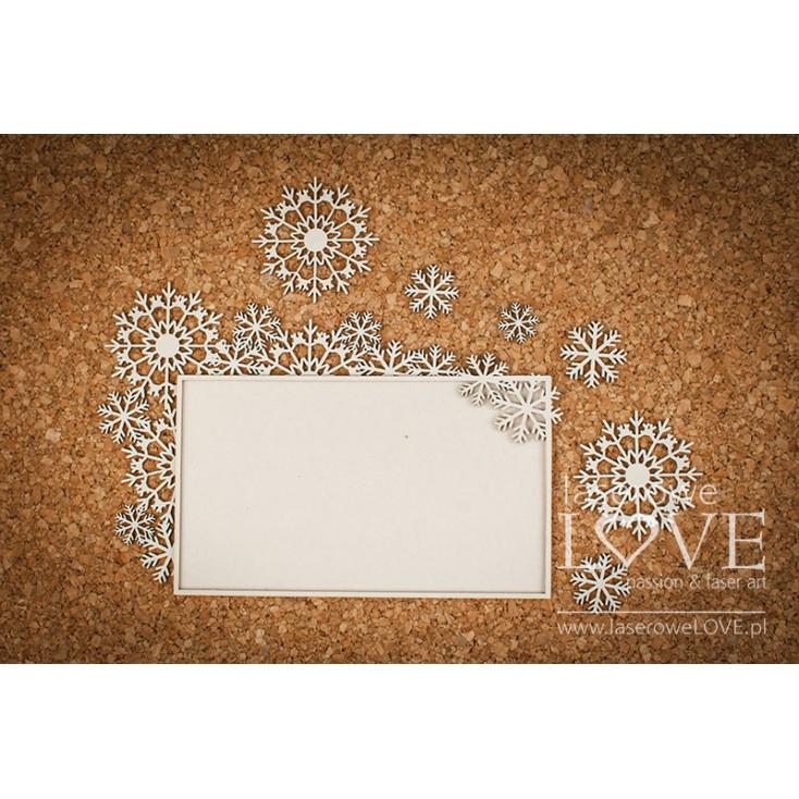 Cardboard -Large rectangular frames with snowflakes- Shabby Winter - LA18630- Laserowe LOVE