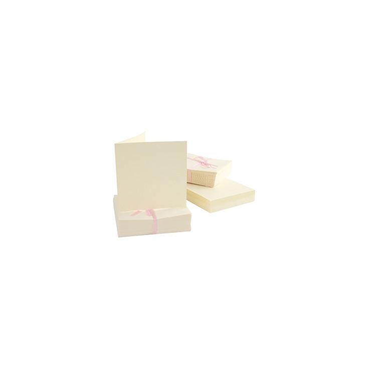 Bazy kartkowe plus koperty kwadratowe - zestaw 50 sztuk - kremowe