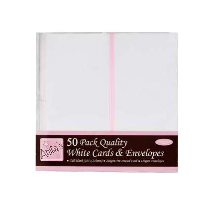 Bazy kartkowe plus koperty - podłużne DL - zestaw 50 sztuk - białe