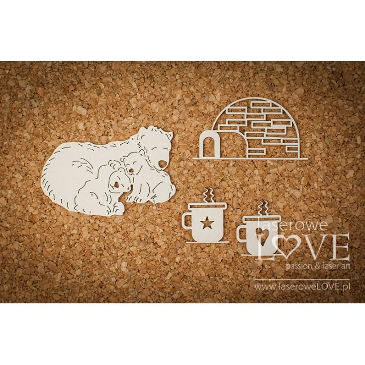 Cardboard -Bear with an igloo - Shabby Winter - LA18601- Laserowe LOVE