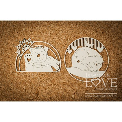Cardboard -Teddy bears in frames - Arctic Sweeties - LA18604- Laserowe LOVE