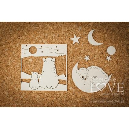 Tekturka -Miśki z księżycem - Arctic Sweeties - LA18605- Laserowe LOVE