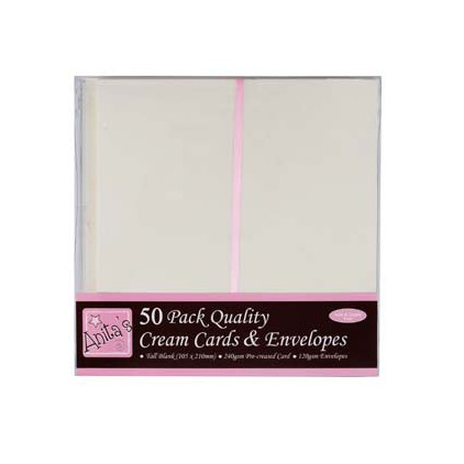 Bazy kartkowe plus koperty - podłużne DL - zestaw 50 sztuk - kremowe
