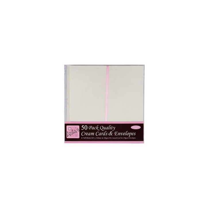 Anita's, Blank card and envelope DL - Pack of 50 - cream