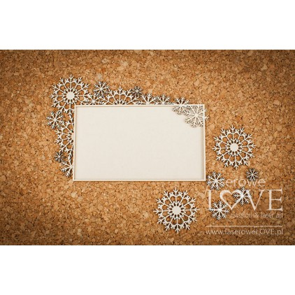 Cardboard -Rectangular frames with snowflakes - Arctic Sweeties - LA18615- Laserowe LOVE