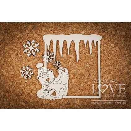 Cardboard -Frame with bear cubs - Arctic Sweeties - LA18622- Laserowe LOVE