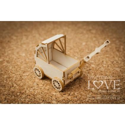 Tekturka -Wózek 3D dziewczynka -Vintage Baby - LA18517- Laserowe LOVE