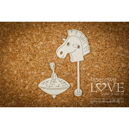 Cardboard -A horse and a spinning top- Vintage Baby - LA18257 - Laserowe LOVE