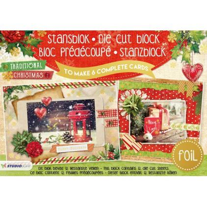 Scrapbooking paper pad - Studio Light - Traditional Christmas - Die Cut Foil Block