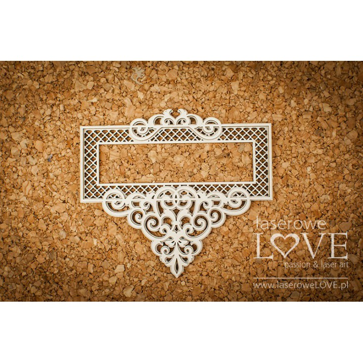 Cardboard -Rectangular frame with ornaments - Vintage Ornaments - LA18237 - Laserowe LOVE