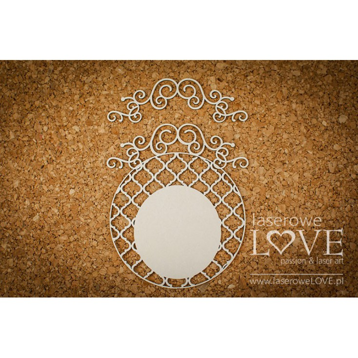Cardboard -Round frame with grid- Vintage Ornaments - LA18246 - Laserowe LOVE