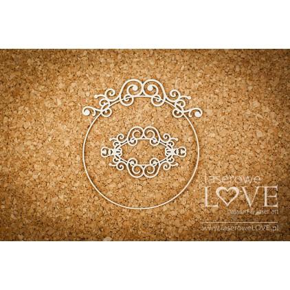 Cardboard -Round frame with one ornament- Vintage Ornaments - LA18249 - Laserowe LOVE
