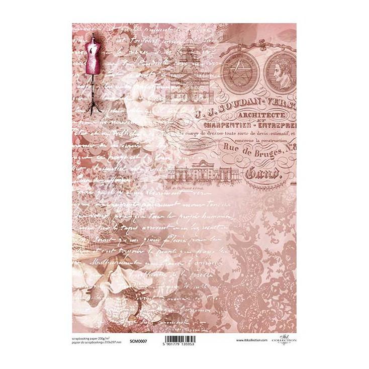 Papier do scrapbookingu A4 - SCM007 -ITD Collection