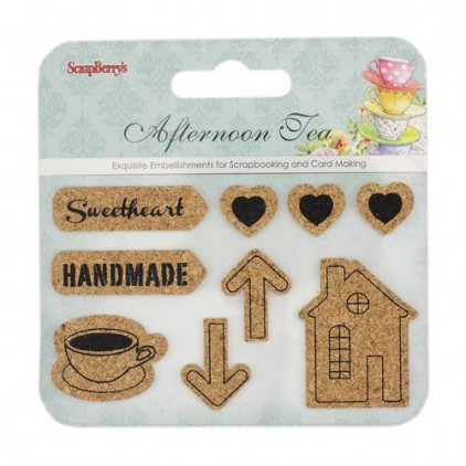 Set of cork stickers- Afternoon Tea- Scrapberry's