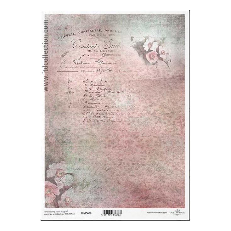 Papier do scrapbookingu A4 - SCM068 -ITD Collection
