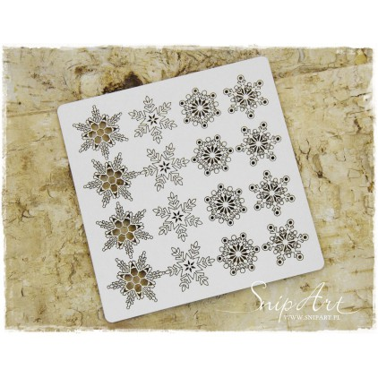 Cardboard - Snowflakes - a set of 16pcs. - SnipArt