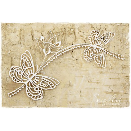 Cardboard - Butterflies with flower - openwork -SnipArt