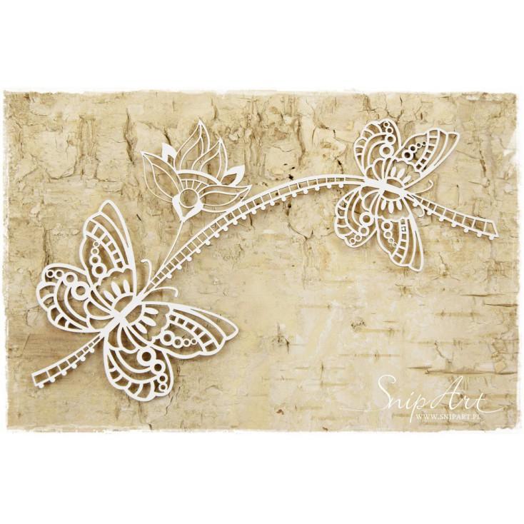 Tekturka - Motyle z kwiatem - ażurowe - SnipArt