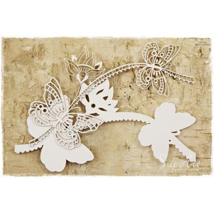 Tekturka - Motyle z kwiatem - warstwowe - SnipArt