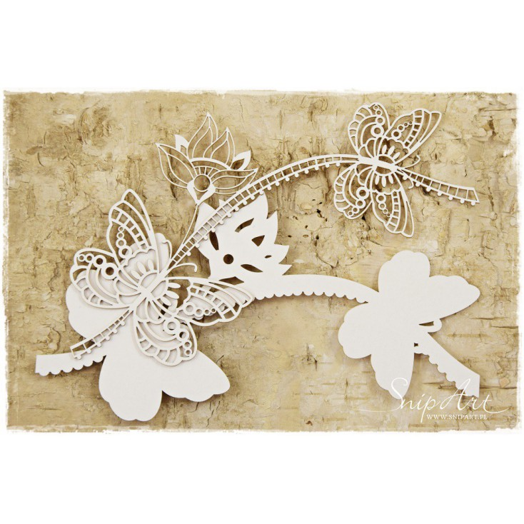 Cardboard -Butterflies with a flower - layered -SnipArt