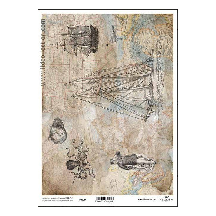 Papier pergaminowy drukowany, kalka - P030- ITD Collection
