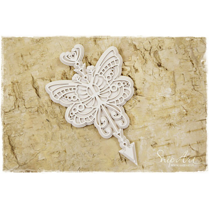 Cardboard - Butterfly with an arrow - layered - SnipArt