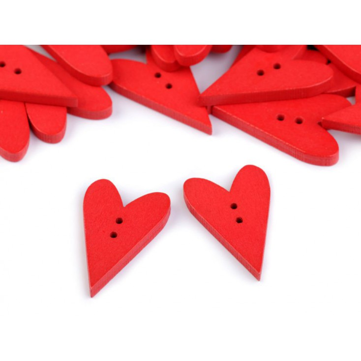 Wooden button - heart 01- red